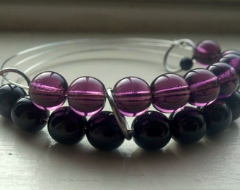 Goth Girl abacus bracelet in purple and black