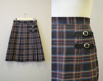 1980s Lloyd Pleated Plaid Kilt Skirt