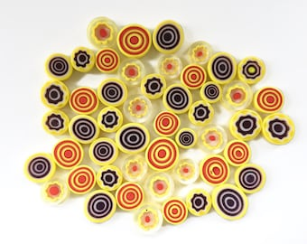 Citrix MIX 50 pieces of Handmade Millefiori Glass Beads for Mosaic Decoration & Jewellery Making (3-6mm thick, 7-13mm diameter, 50gr)