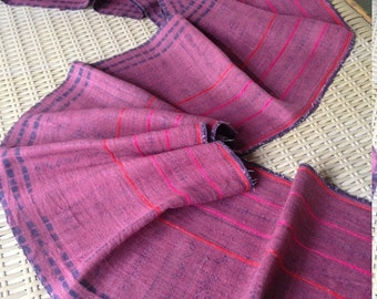 Vintage Hmong Tribal Hemp Red Handmade Ethnic neon stripe Batik Crafting Textile supplies