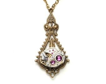FEBRUARY Steampunk Necklace AMETHYST Steampunk Watch Necklace Purple Antique Brass Steampunk Wedding SteamPunk Jewelry Victorian Curiosities