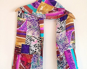 Crazy Colorful Tribal Print Silk Scarf