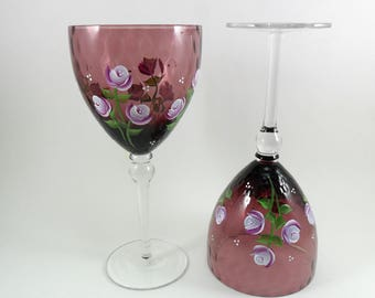 Wine Glasses Pink Roses Plum Colored Hand Painted Flowers Set of 2