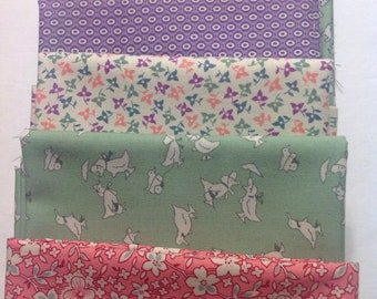 1930s Era Assorted 1930s Retro Fabric  in Pink, Green and Purple, Florals, Ducks and Children, Fat Quarter Bundle