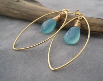 Hoop Earrings - Aqua Blue Chalcedony Earrings - Gold Hoops - Caribbean Blue Earrings- Turquoise Blue Stone - Blue and Gold Earrings