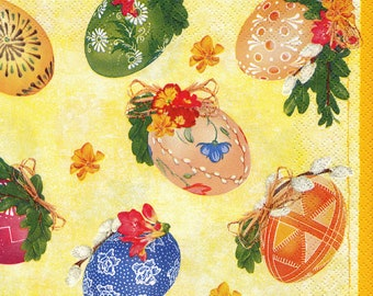 "6 Decoupage Paper Napkins Easter Eggs Spring Flower 33x33 cm. 13""x13"" set of 6 pcs"