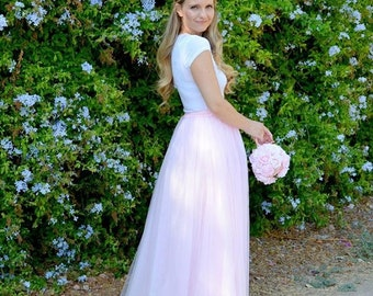 Pale Pink Maxi tulle skirt Tulle Skirt  Adult tulle skirt Tulle wedding dress Length tulle skir Pastel colors tulle skirt 6 layers sewn tutu