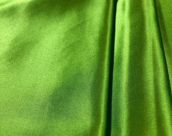 "2.25yd Remnant Silk/Lycra (2%) Lightweight Charmeuse 42""w Chartreuse Green"