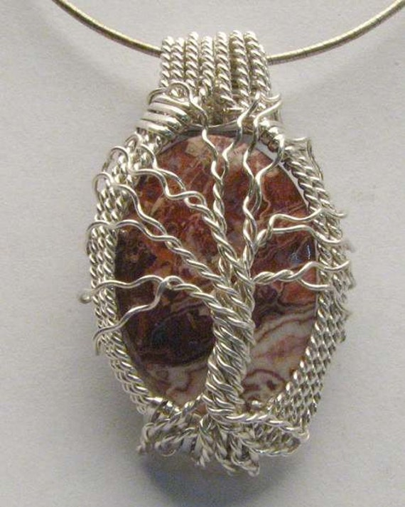 Handmade Solid Sterling Silver Wire Wrap Family Tree Rosetta Picture Stone Pendant