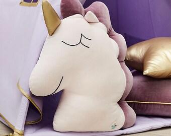 Unicorn Pillow – cozy unicorn, soft unicorn, unicorn pillow, unicorn cushion, unicorn deco, soft cushion, velvet unicorn - Pink Lilac