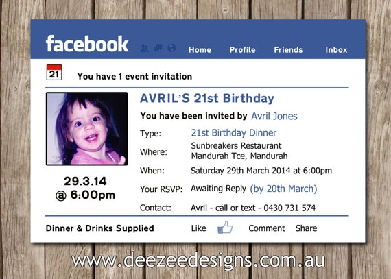 Facebook themed personalised birthday invitation with photo stopboris Image collections