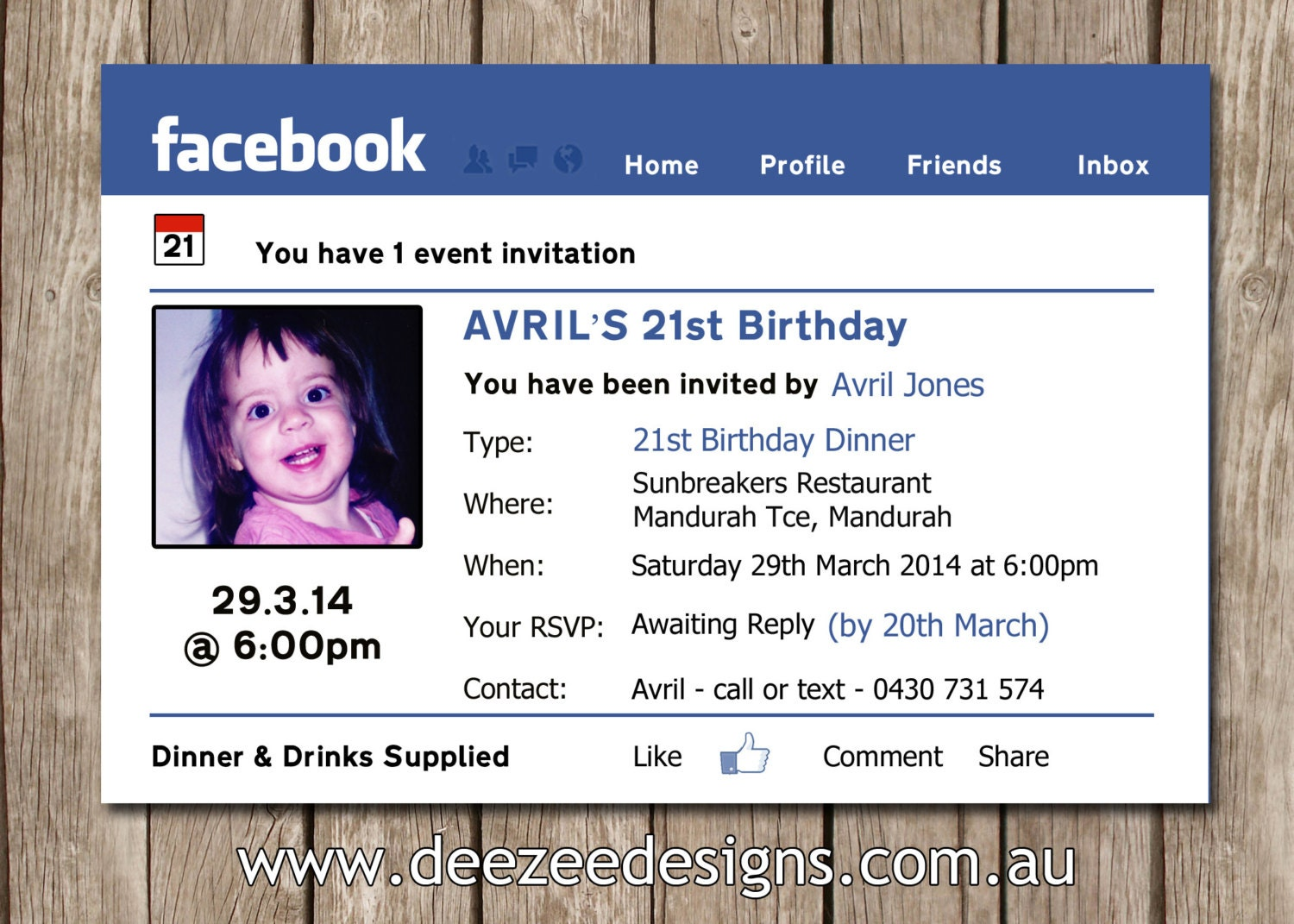 Facebook Themed Personalised Birthday Invitation with Photo
