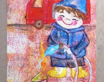 A3 Poster Children's Room firefighter