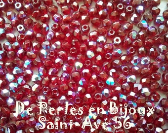 lot 50 3mm dark red ab faceted beads