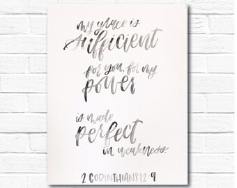 My Grace is Sufficient For You/ Scripture Canvas/ Hand Lettered Watercolor/ Bible Canvas
