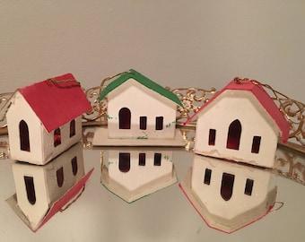 Vintage Christmas Putz Japan Houses Ornaments Set of 3