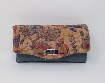 Cork Necessary Clutch Wallet in Teal Ocean color