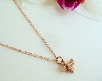 ON SALE Tiny Rose Gold Bee Necklace, Honey Bee, Bumble Bee on 14k Rose Gold Filled Chain, Bee Jewelry, Mothers, Gift