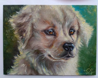 Dog portrait painting Symbol 2018 Dog painting Small oil painting Christmas Gift|for|girl room decor Wife|christmas|gift for Dog lover gift
