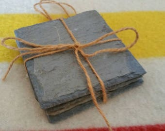 Hand cut Vermont roofing slate coasters.  Slate is from a 200 year old local farm.