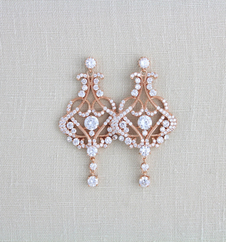 Rose gold earrings Bridal earrings Wedding earrings Wedding