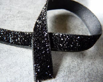 1 m black glitter Ribbon