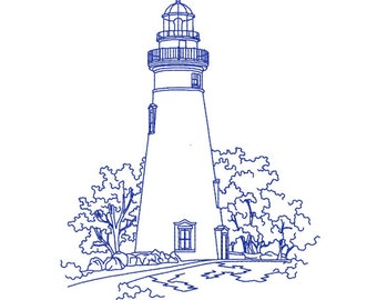 Bluework Embroidery Design, Marblehead Lighthouse, Ohio, digital instant download file.