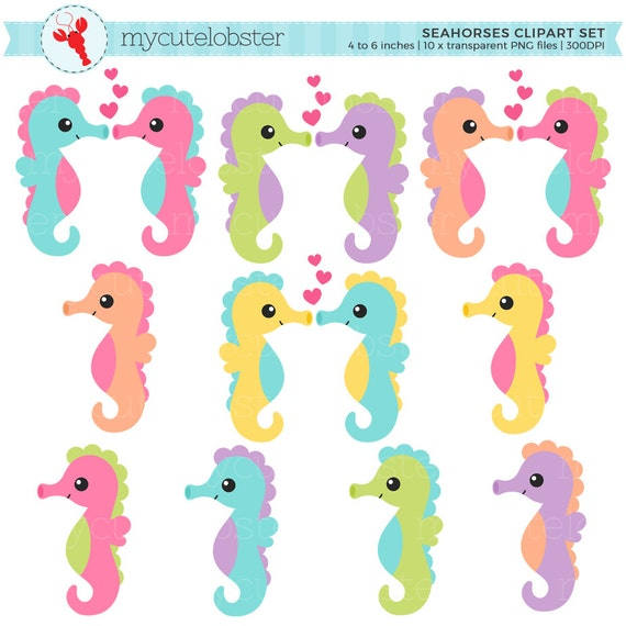 Seahorses Clipart Set Seahorse Clip Art Set Sea Animals