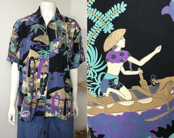 vtg 80s Generra ethnic print avant garde dress shirt top
