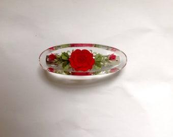 Hand made resin flower engraved hair clip