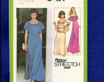 1970's Simplicity 8419 Evening Dress with Off Shoulder Ruffle Size 12..14