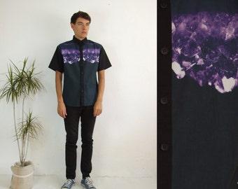 Men's amethyst crystal printed shirt