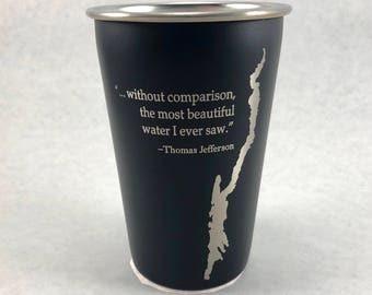 Lake George with Thomas Jefferson quote - Stainless Steel Pint Glass
