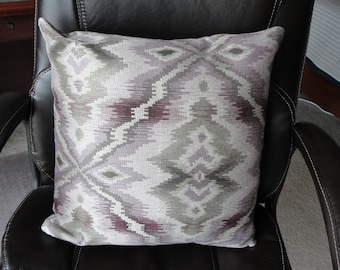 Lavender and silver zippered 18 inch pillow cover