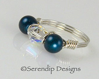 Silver Wrapped Pearl and Crystal Ring, Two Swarovski Crystals Surrounding a Swarovski Crystal Pearl, Blue Pearls with Clear Crystal, 6mm pcp