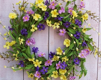 Spring Wreath-Front Door Wreath-Summer Wreath-Floral Wreath-Spring Summer Door Wreath-RUSTIC WILDFLOWER Floral Door Wreath-Wreath-Wreaths