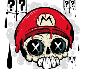 Mario Skull -  Limited Art Print 8x10 - Classic Video Game Lowbrow Fan Art