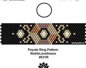 peyote pattern,pdf-download,#531R,DIY,peyote ring beading pattern, beading tutorial, ring pattern,pdf pattern