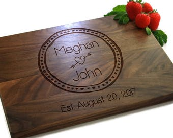 Personalized Cutting Board, Wedding Gift, Engraved Engagement Gift, Gift For Friends, Couples Gift, His & Hers, PTCB009