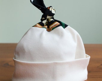 Black, White Baby Hat; Organic Cotton Newborn Baby Cap; Modern Baby Beanie; Hospital Hat, Handmade in Canada; New Baby Gift Here be Monsters
