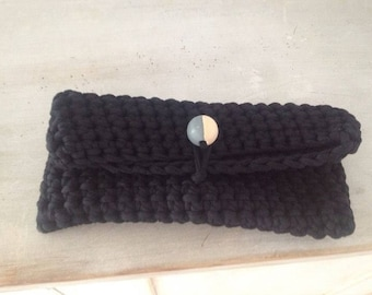Wood n wool clutch - Black