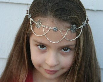 Flower Princess Faerie Circlet - Rose Quartz, Amethyst, Pink Glass - Belly Dance, Wedding, Renaissance or Costume Accessory