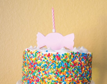 Candy Shop Candle Holder Birthday Cake Topper