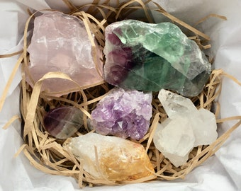 Mixed crystal box - mineral box - raw crystals - lucky dip crystals - spiritual gifts - crystal gift box
