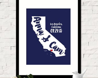 Personalized California State Wall Art, Custom Name Map, Personalized Wedding Location State Map Print, Wedding Gift for Her, Unique Gift