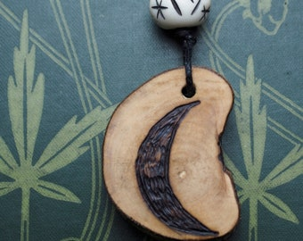 Avalon Hazel Moon Pendant - For Wisdom - Natural & Unusual - Pagan, Druid, Wicca, Magic, Tree