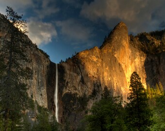 Bridalveil Falls at Sunset, Landscape Photograph, Yosemite National park, Blue Sky, Waterfall, Nature Photography, Cliff, Mountain