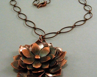 Oxidized Copper Layered Flower Pendant with Oxidized Copper Chain Necklace
