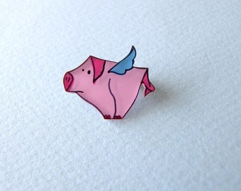 RESERVED for moukelis - Flying Pig Brooch