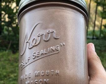 Spray painted mason jar